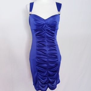 Royal Blue Party Dress with Rhinestone Accents